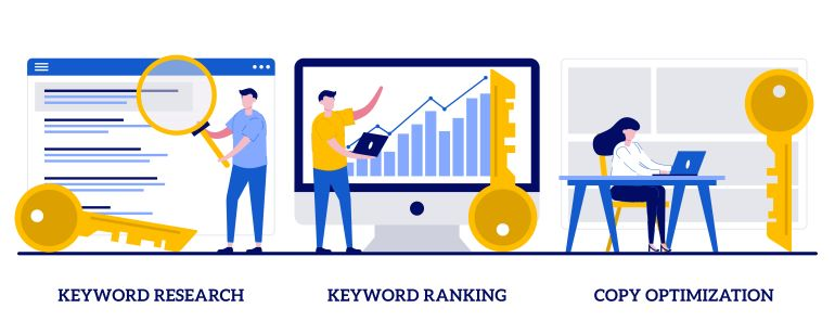 Illustration of the keyword research process.