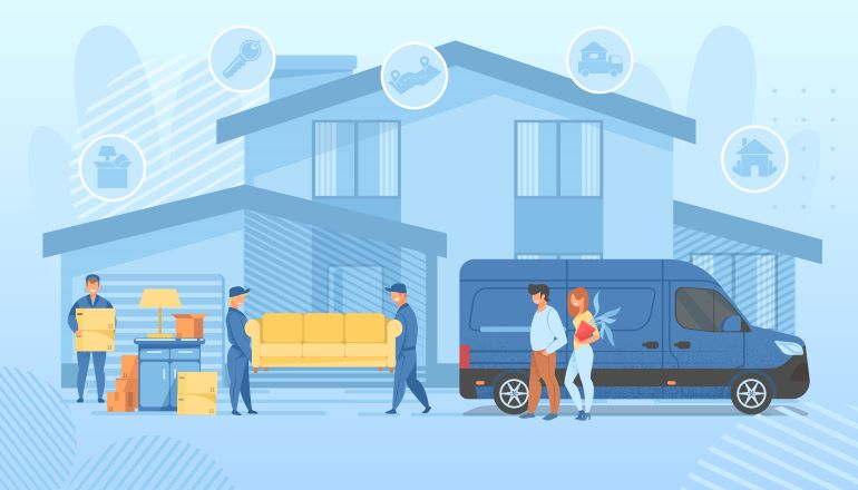 Illustration of residential moving services