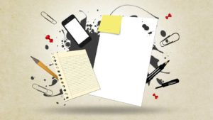 Pens, paper, technology, apps...all part of eLearning apps for businesses.