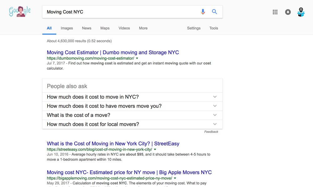 Moving Cost NYC Google Search Results