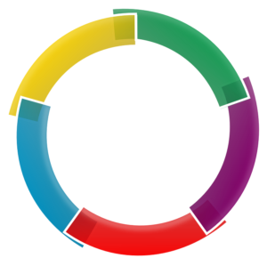Circle divided into different-coloured segments - divide and conquer your target audience for better results.