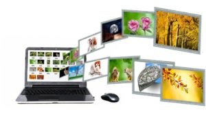 Images flying out of a laptop - associations to good website content strategies.