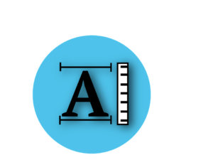 Letter A with ruler measuring the font size.