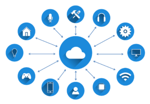 Cloud icon connected with icons of other devices, people, homes etc.