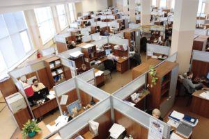 Large office floor with cubicles.