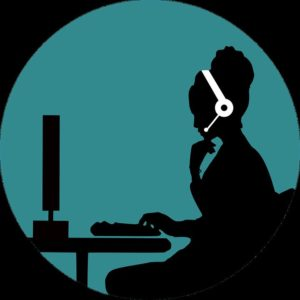 Icon of woman with headphones.