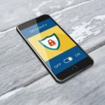 Security feature on mobile phone with On/Off option - make sure yours is turned on to protect your business from cyber attacks.