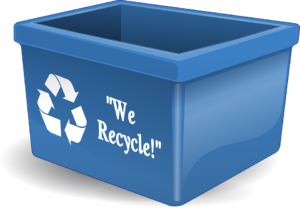 Recyclable blue plastic bin - one of the way for movers to contribute to the environment.