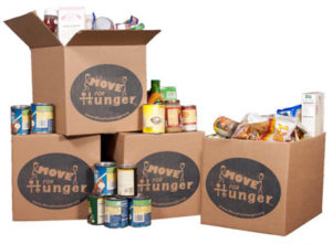 Move For Hunger boxes with canned food inside them.