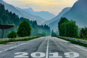 Road with 2019 drawn on it.