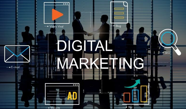 Vector image that illustrates digital marketing services.