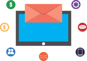 Screen with varios email-related icons that convey common email marketing mistakes