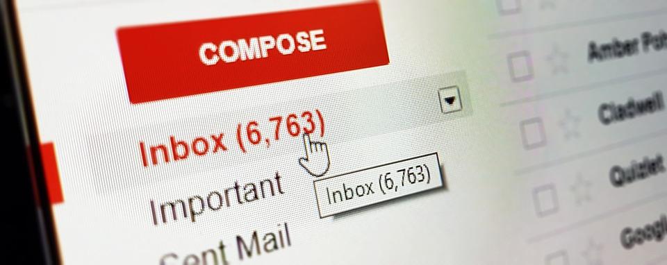 Image of Gmail inbox.