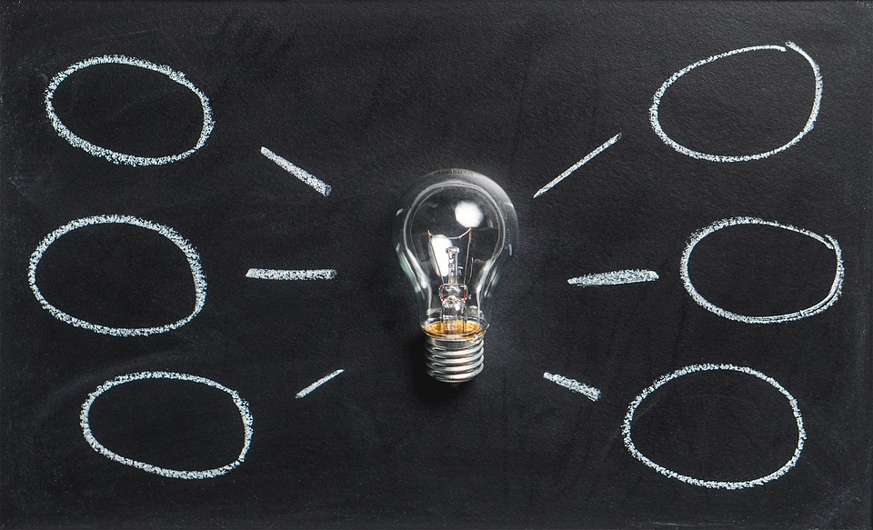 Lightbulb with six clouds for six unique ideas for PPC advertising outside the box.