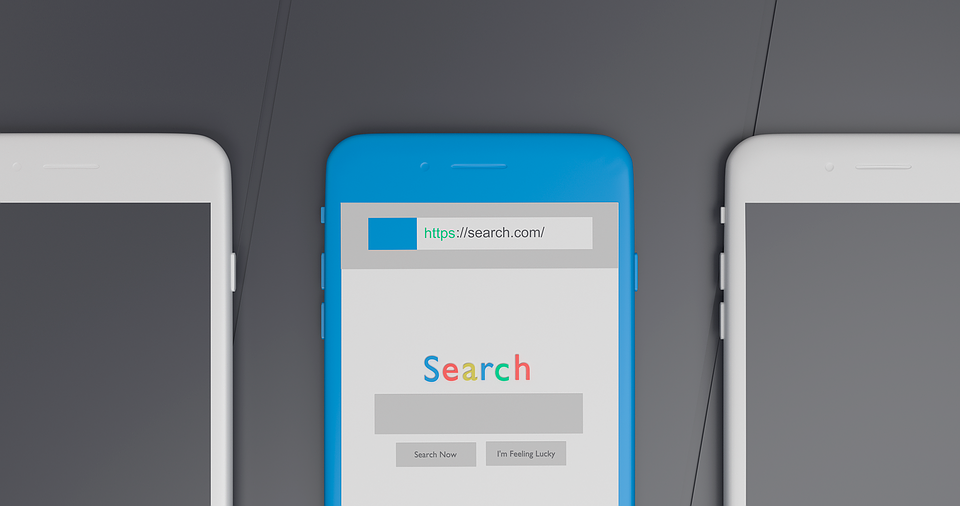Search bar on mobile phone - the focus of PPC advertising outside the box.