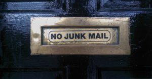 No Junk Mail sign on door.