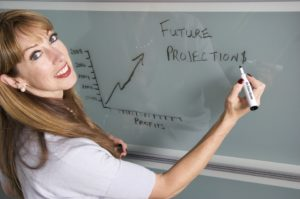 Woman illustrating future projections on white board.