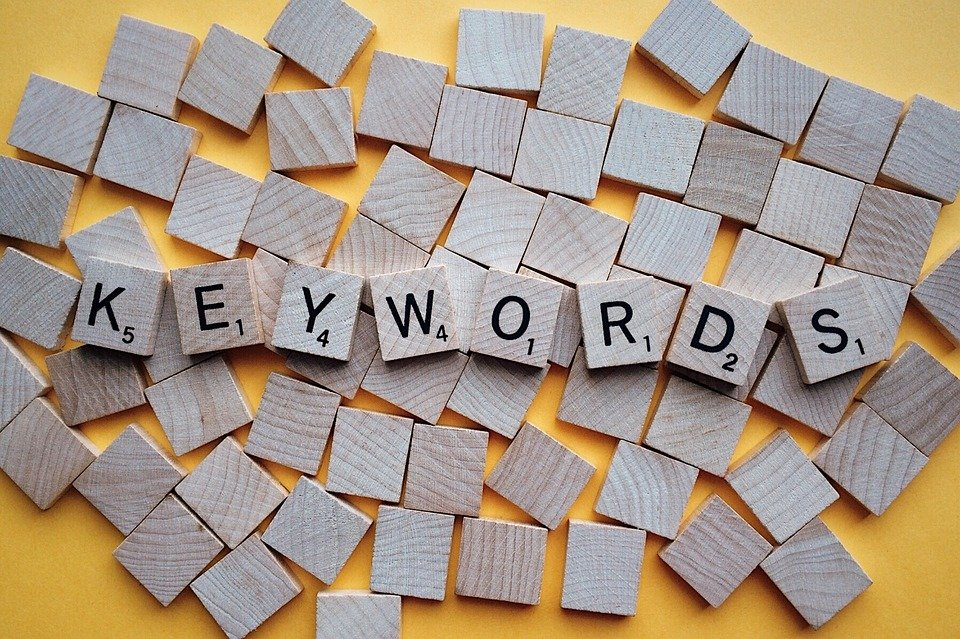 the word keyword written with wooden dice because stuffing keywords is a wrong strategy when writing your Location page