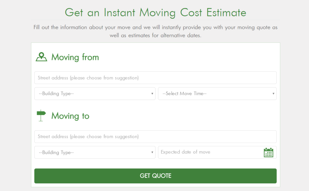 Example of moving estimate form on Dumbo Moving and Storage NYC website
