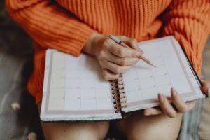 A girl exploring her agenda.