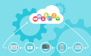 A cartoonish image showing different devices that are connected to the cloud.