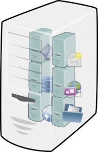 A computer divided into several virtual machines with different tasks.
