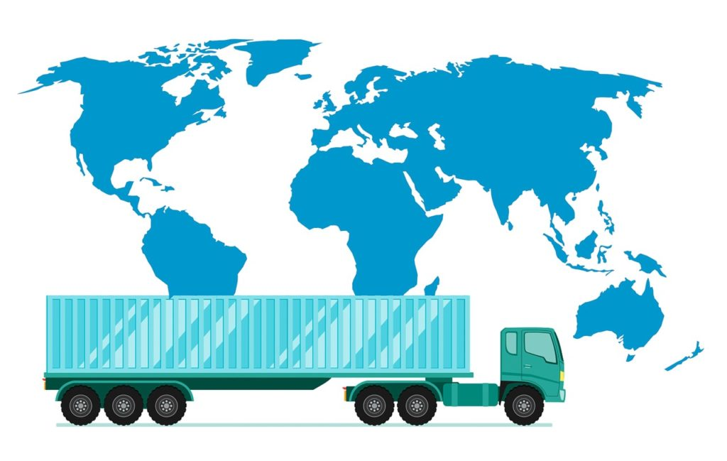 Truck and world map