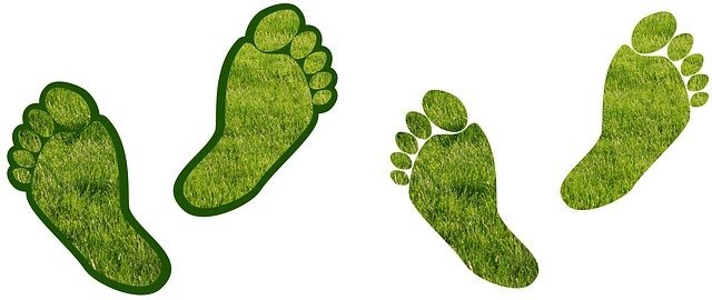 Green footprints, representing the way to reduce your carbon footprint as a mover