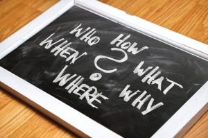 A blackboard whit words how, what, why, where, when, who.