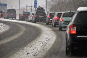 A traffic jam on a snowy road.