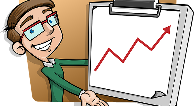 A drawing of a person showing a success chart with the arrow pointing up.
