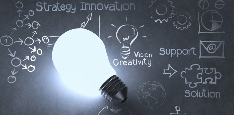 Light bulb with innovation plan and ideas
