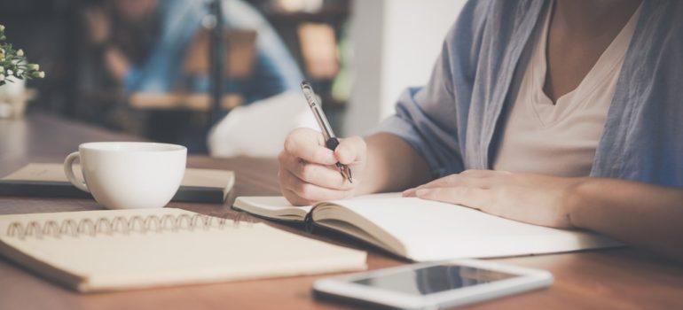 Notebook, tea, notepad