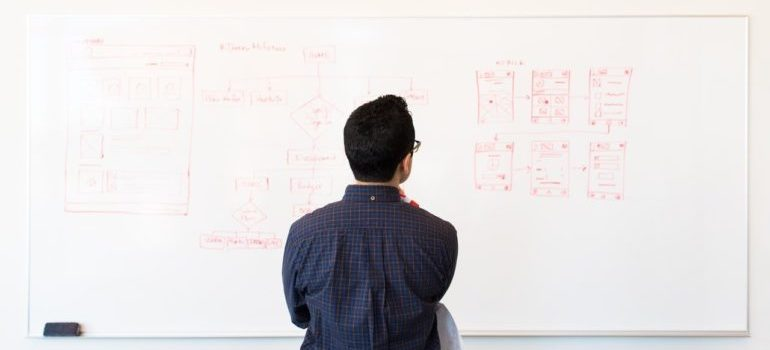 Man standing in front of white board with web development plan