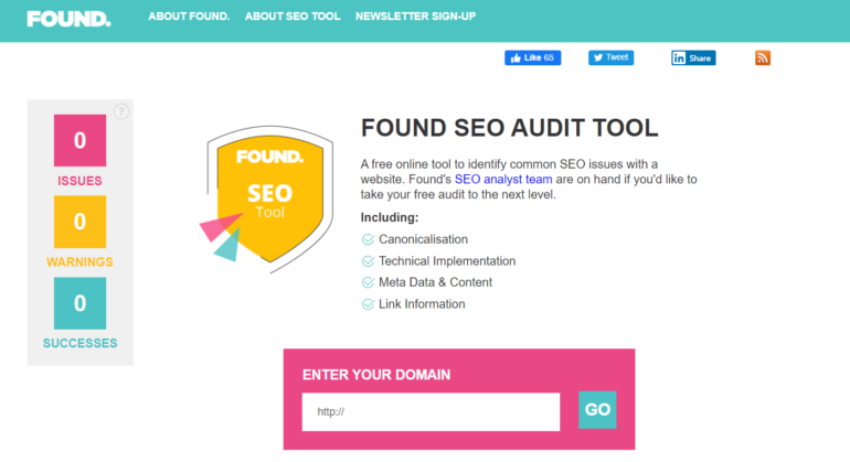 Found's SEO Audit Tool hp