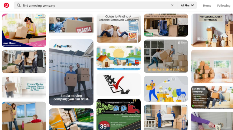 Pinterest search results for 'find a moving company'