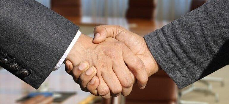 A close-up of a handshake.