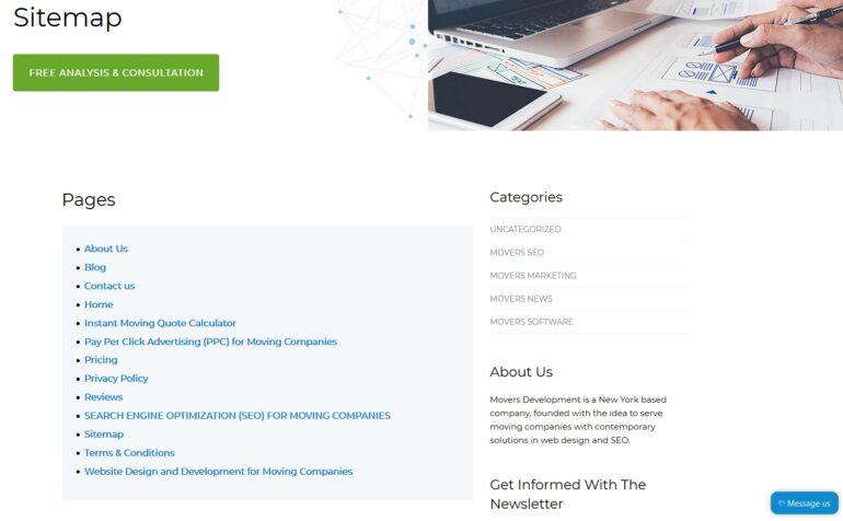 A digital marketing website's sitemap.