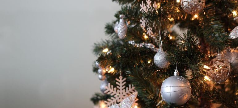 A Christmas tree with ornaments.
