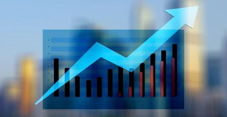 An upward graph in blue.