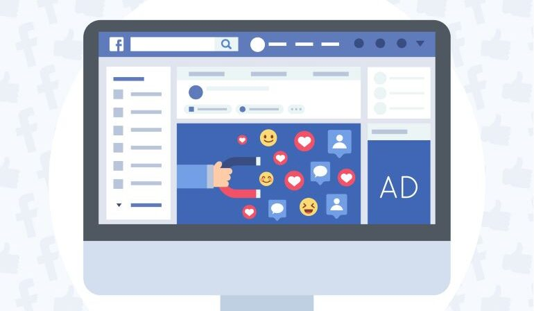 Facebook Ads illustration on desktop screen.