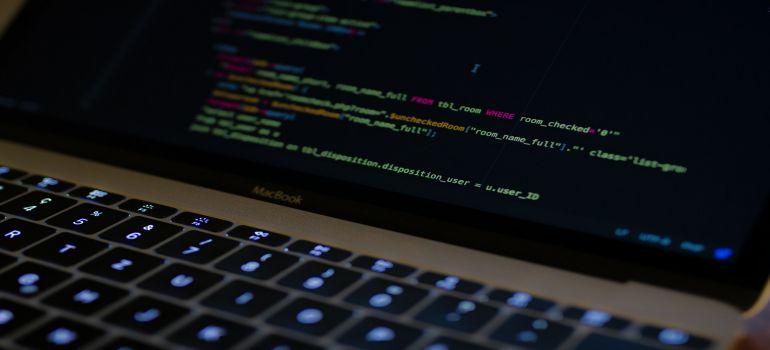 Website code on a black background.