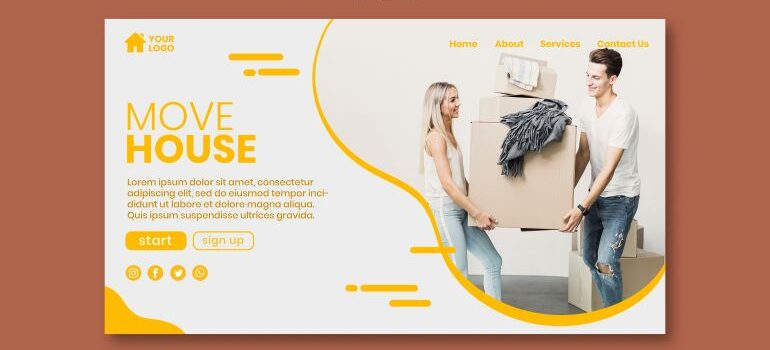 Example of a hero section template for a moving company