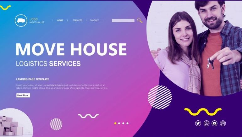 Template for a moving website landing page