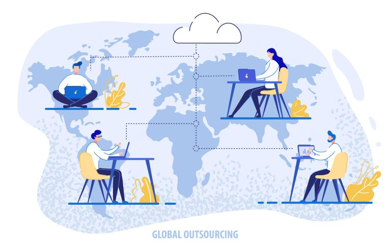 Illustration of outsourcing across the globe.