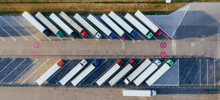 Rows of trucks in an overhead view.
