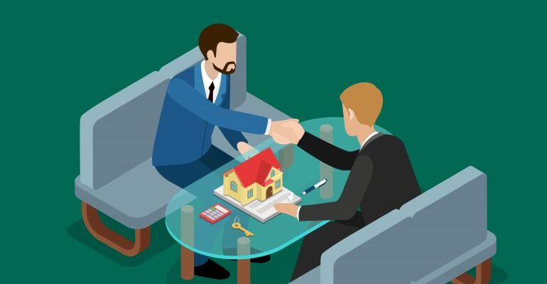 Illustration of a real estate deal between two men.