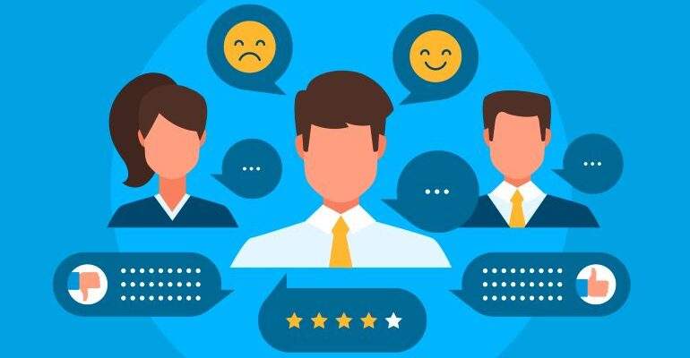 Illustration of testimonials and reviews.