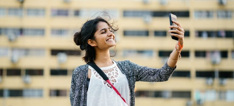 A person taking a selfie.