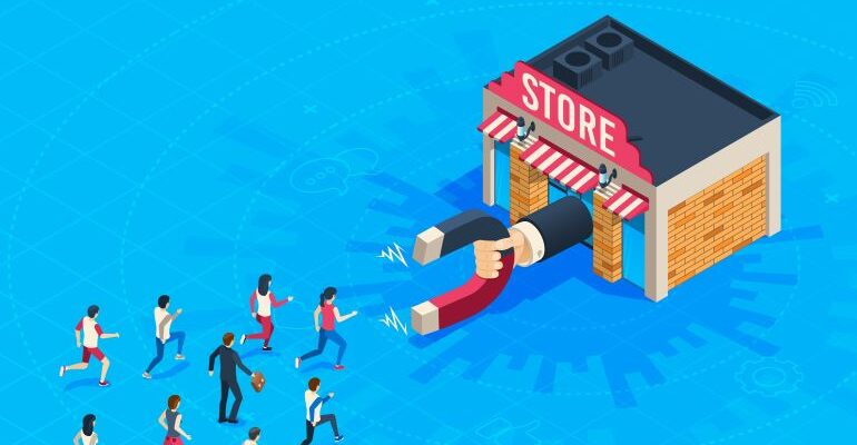 Store with magnet retaining customers.